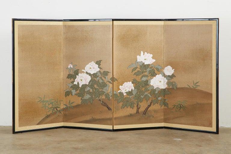 Chinese Japanese Showa Four-Panel Screen Flowering Peonies