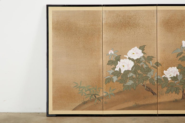Hand-Crafted Japanese Showa Four-Panel Screen Flowering Peonies