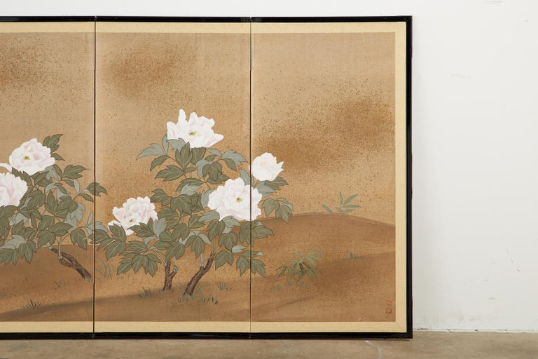 Japanese Showa Four-Panel Screen Flowering Peonies In Good Condition In Rio Vista, CA