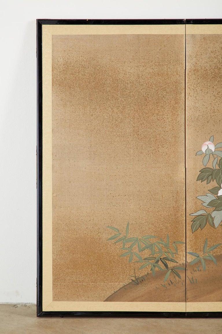 20th Century Japanese Showa Four-Panel Screen Flowering Peonies