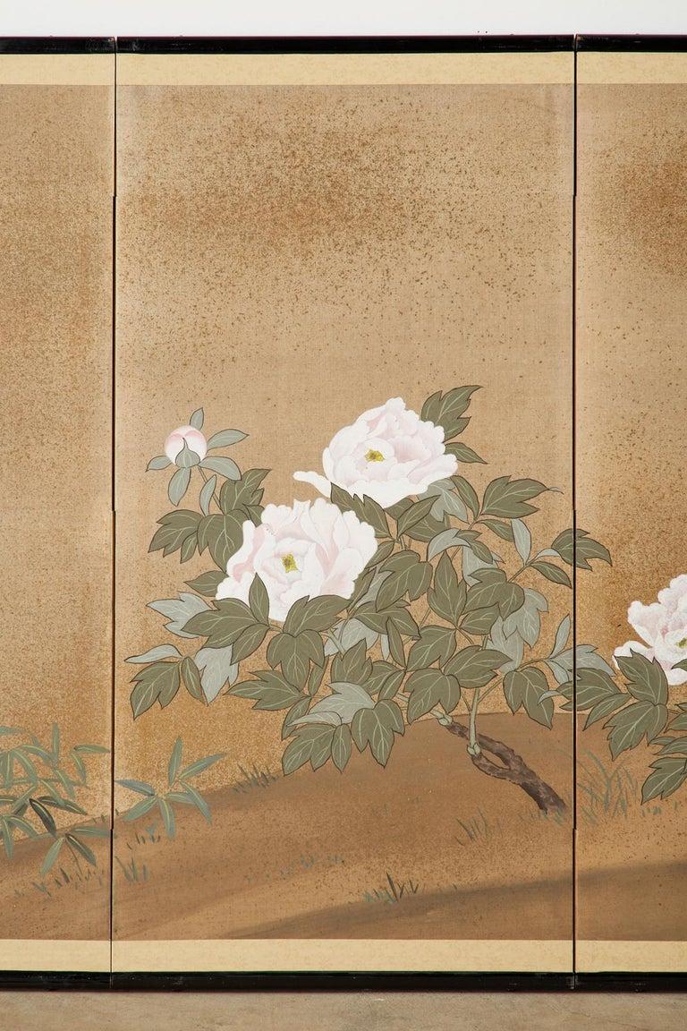 Brass Japanese Showa Four-Panel Screen Flowering Peonies