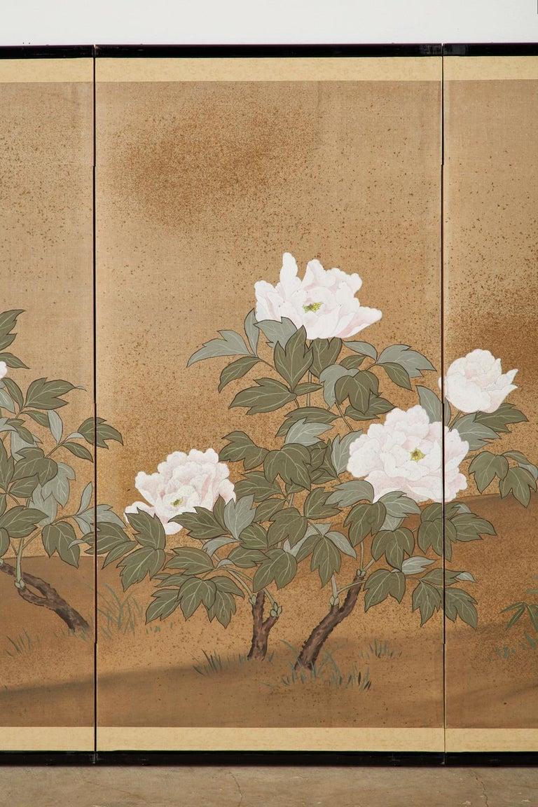 Japanese Showa Four-Panel Screen Flowering Peonies 1