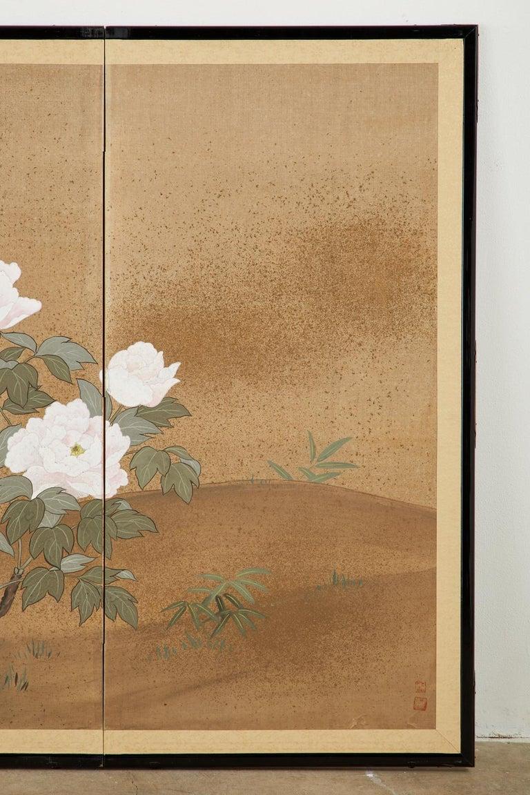 Japanese Showa Four-Panel Screen Flowering Peonies 2