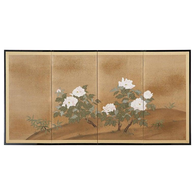 Japanese Showa Four-Panel Screen Flowering Peonies