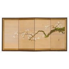 Japanese Showa Four Panel Screen Flowering Prunus Tree