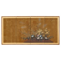 Japanese Showa Four Panel Screen Flowers with Dragonfly