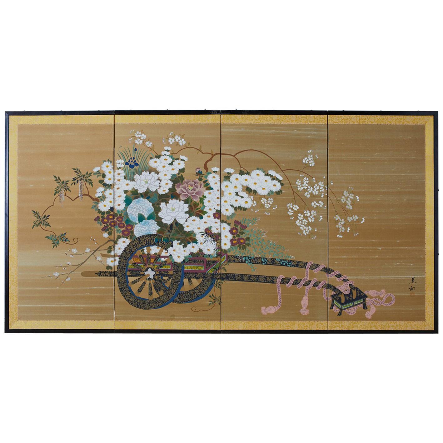 Japanese Showa Four-Panel Screen Hanaguruma Flower Cart