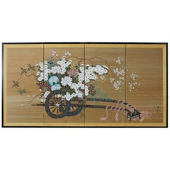 Japanese Showa Four-Panel Screen Hanaguruma Flower Cart