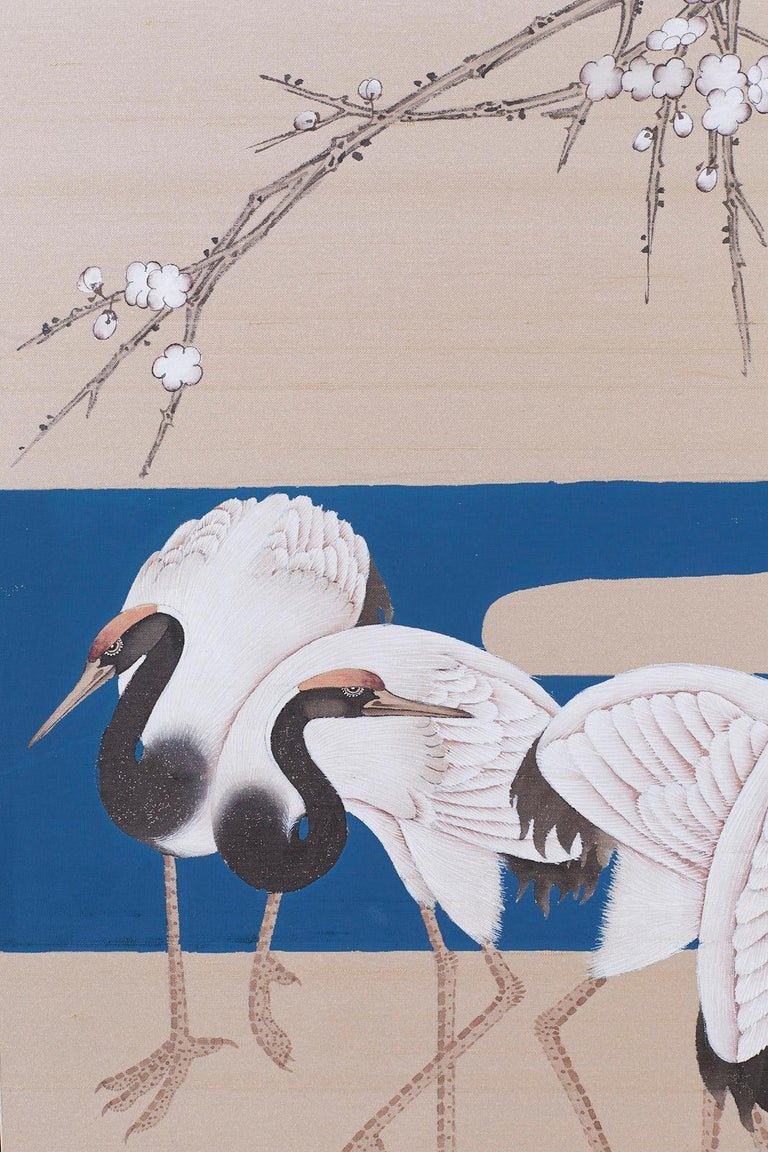 Japanese Showa Four-Panel Screen of Red Crowned Cranes For Sale 5