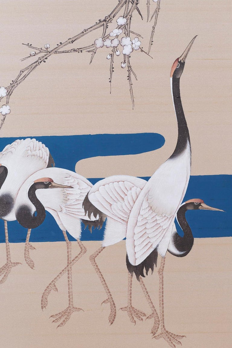 Japanese Showa Four-Panel Screen of Red Crowned Cranes For Sale 6