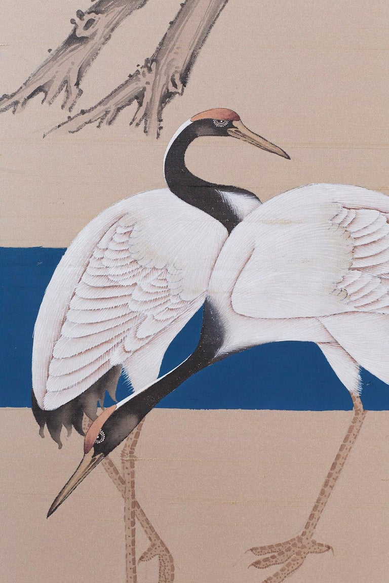 Japanese Showa Four-Panel Screen of Red Crowned Cranes For Sale 7