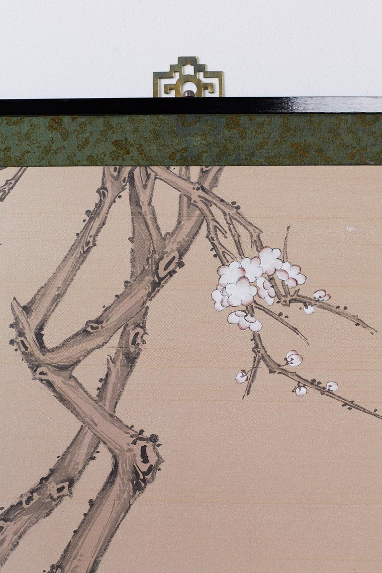 Japanese Showa Four-Panel Screen of Red Crowned Cranes For Sale 8