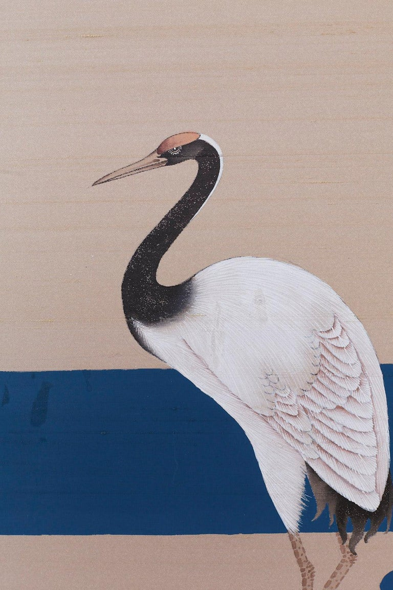 Japanese Showa Four-Panel Screen of Red Crowned Cranes For Sale 9
