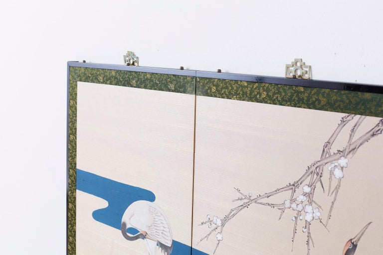 Japanese Showa Four-Panel Screen of Red Crowned Cranes For Sale 10