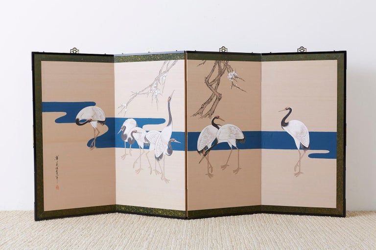 Japanese Showa Four-Panel Screen of Red Crowned Cranes For Sale 11