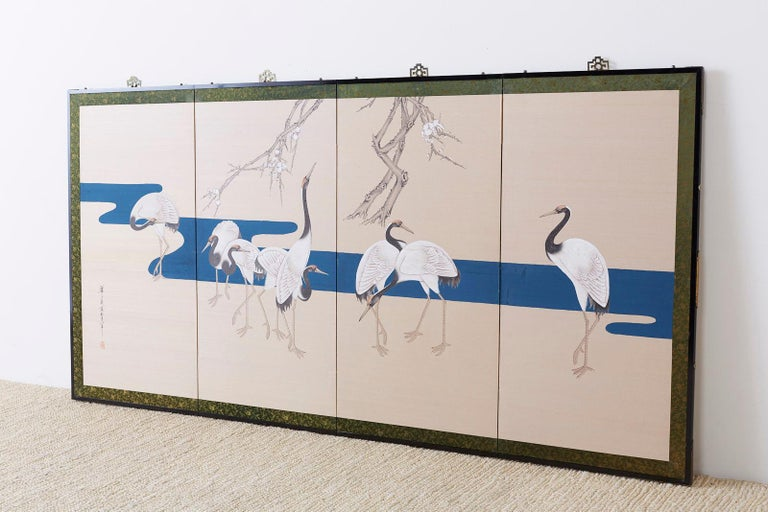 Ebonized Japanese Showa Four-Panel Screen of Red Crowned Cranes For Sale