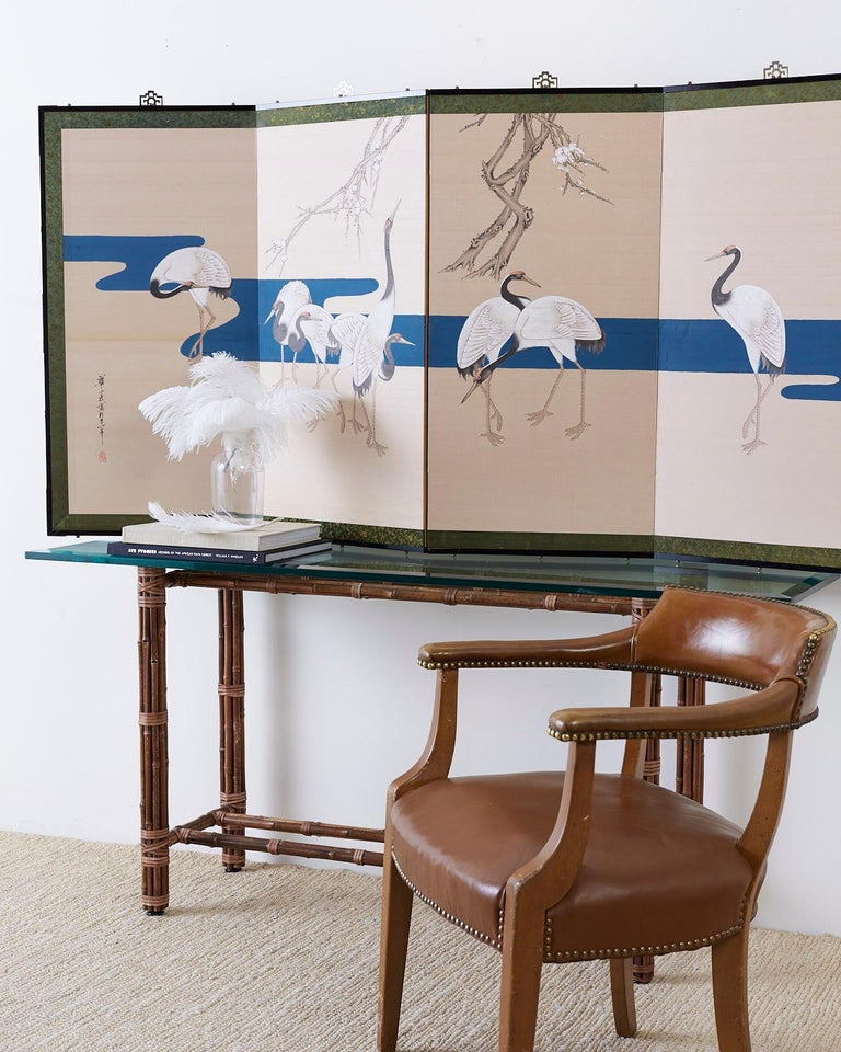 Japanese Showa Four-Panel Screen of Red Crowned Cranes In Good Condition For Sale In Oakland, CA