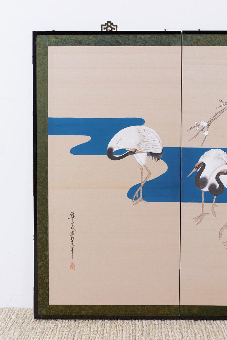 20th Century Japanese Showa Four-Panel Screen of Red Crowned Cranes For Sale