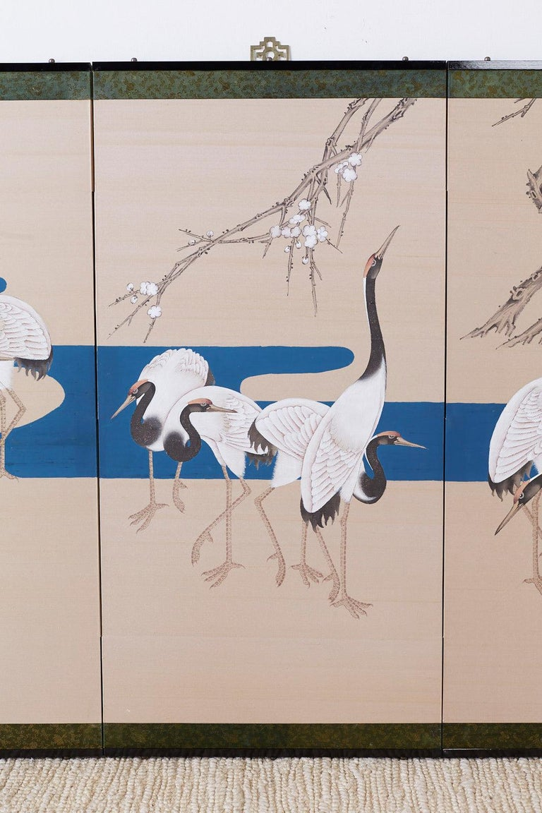 Silk Japanese Showa Four-Panel Screen of Red Crowned Cranes For Sale