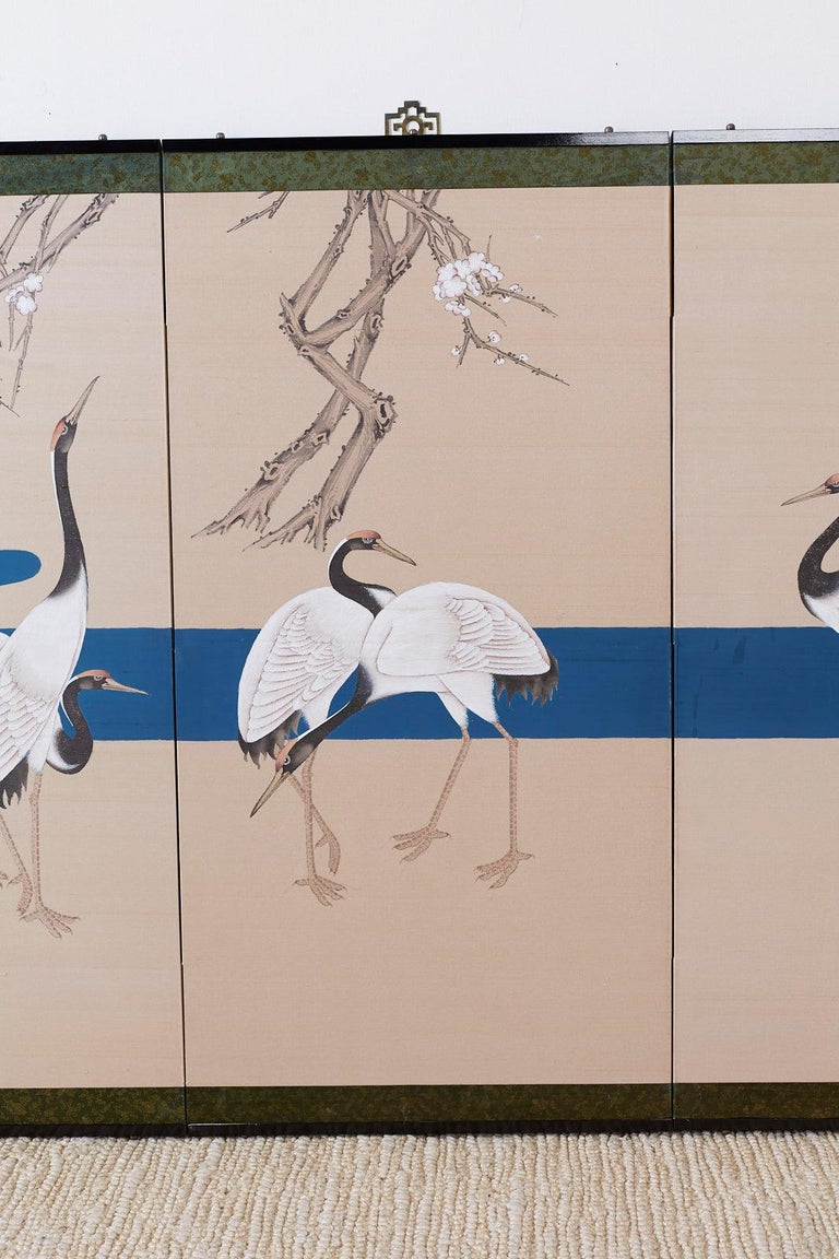 Japanese Showa Four-Panel Screen of Red Crowned Cranes For Sale 1