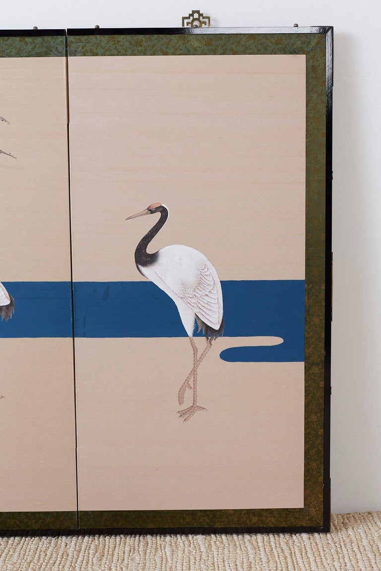 Japanese Showa Four-Panel Screen of Red Crowned Cranes For Sale 2