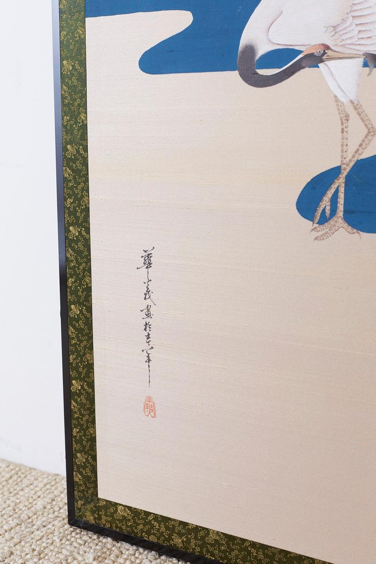 Japanese Showa Four-Panel Screen of Red Crowned Cranes For Sale 3