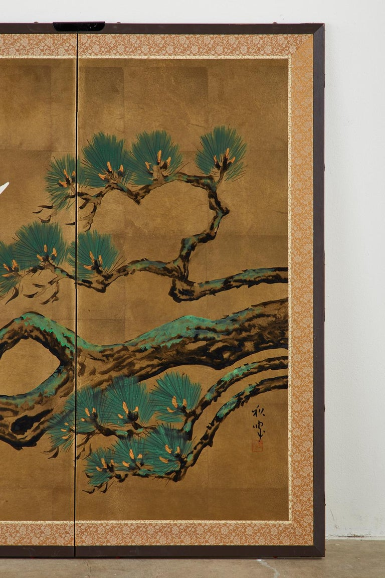 Japanese Showa Four-Panel Screen Pair of Cranes For Sale 4