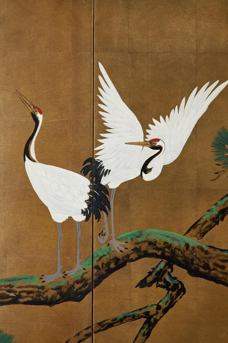 Japanese Showa Four-Panel Screen Pair of Cranes For Sale 5