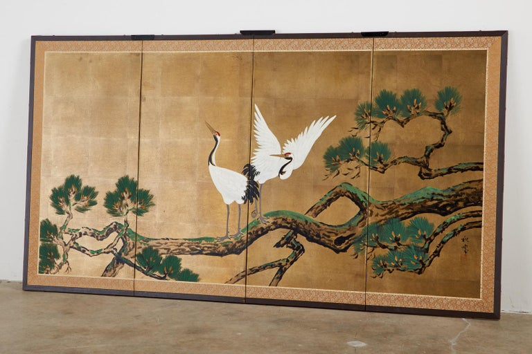 Gilt Japanese Showa Four-Panel Screen Pair of Cranes For Sale