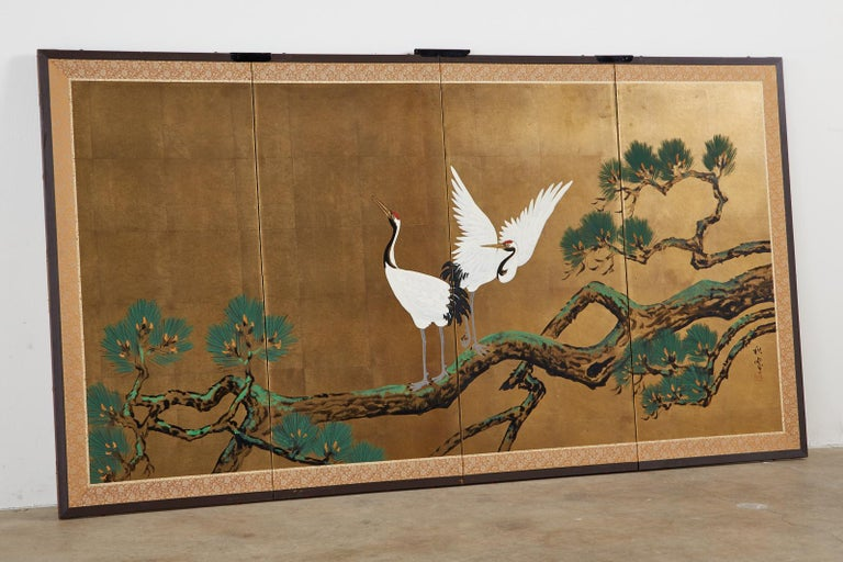 Japanese Showa Four-Panel Screen Pair of Cranes In Good Condition For Sale In Rio Vista, CA