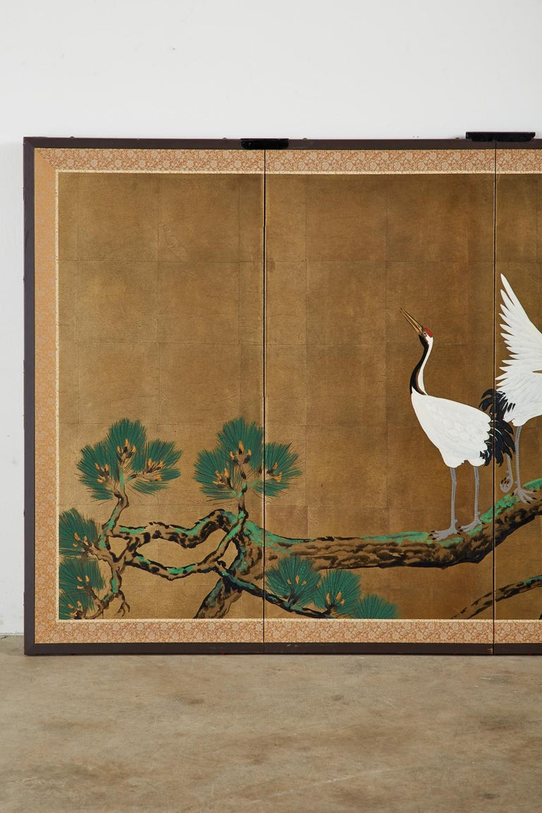 20th Century Japanese Showa Four-Panel Screen Pair of Cranes For Sale
