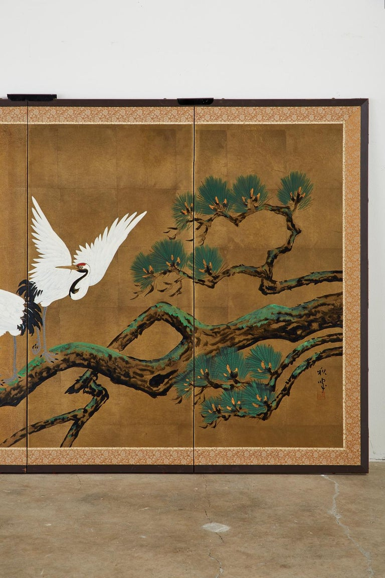 Brass Japanese Showa Four-Panel Screen Pair of Cranes For Sale