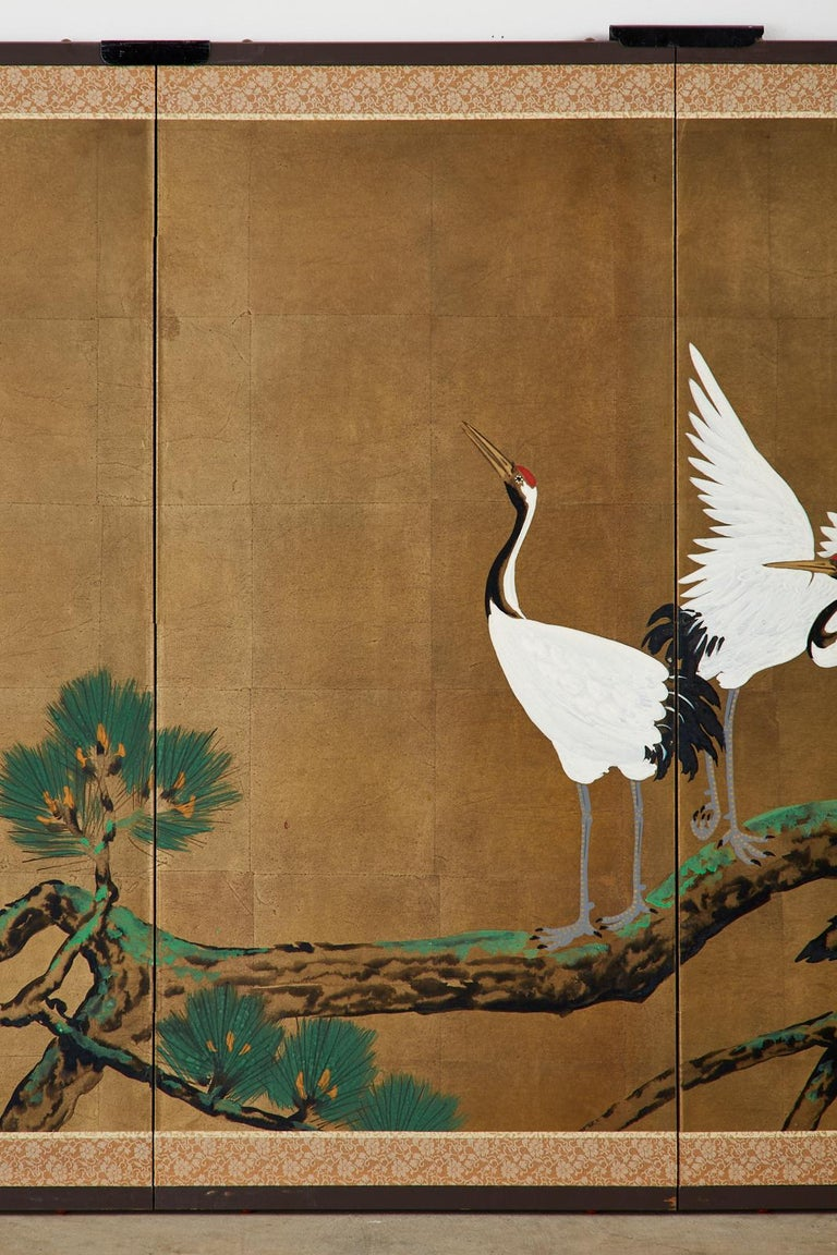 Japanese Showa Four-Panel Screen Pair of Cranes For Sale 2