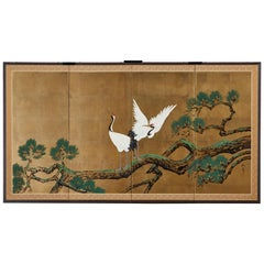 Japanese Showa Four-Panel Screen Pair of Cranes