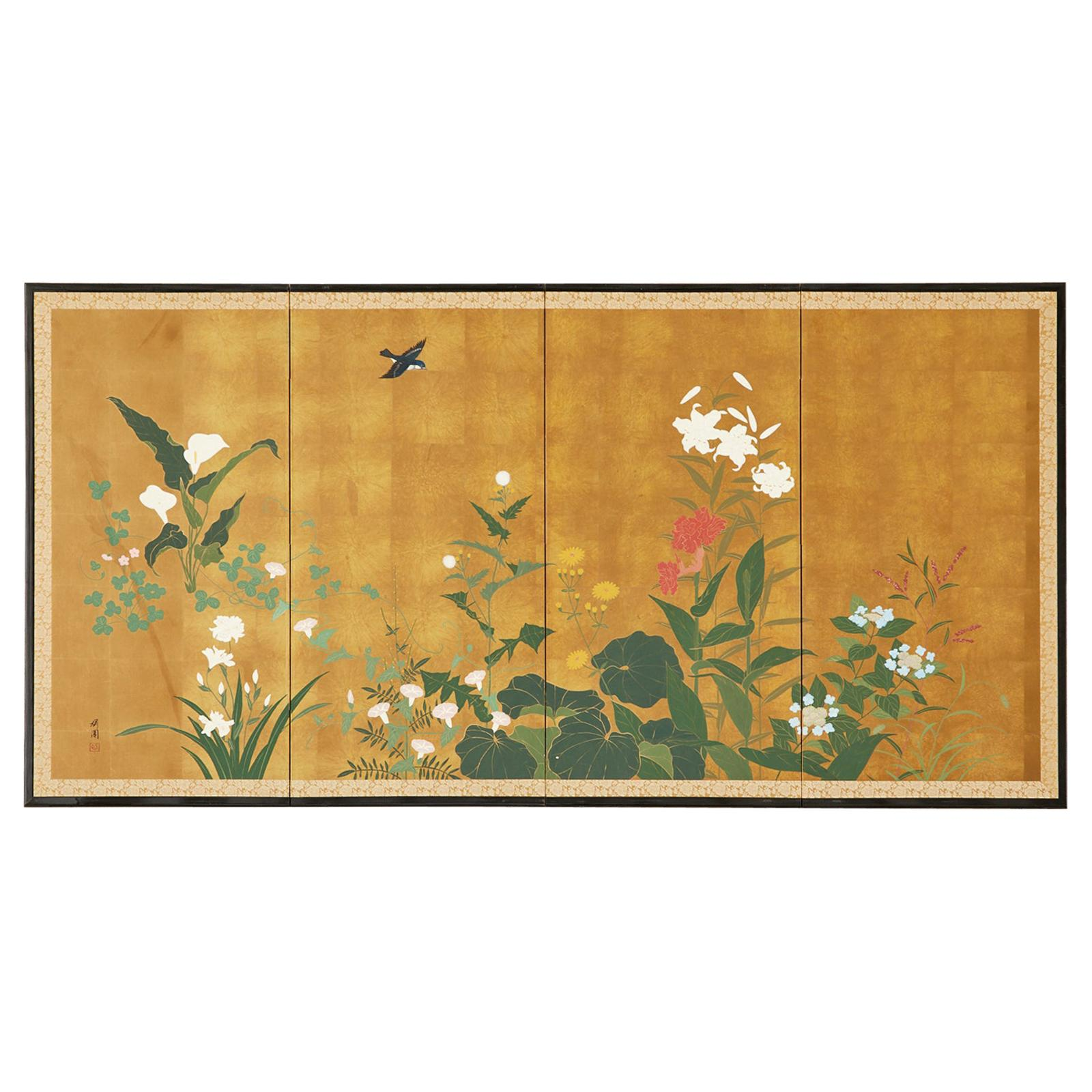 Japanese Showa Four Panel Screen Songbird Spring Flowers