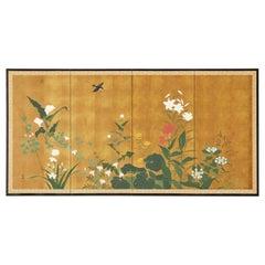 Japanese Showa Four Panel Screen Songbird Spring Flowers