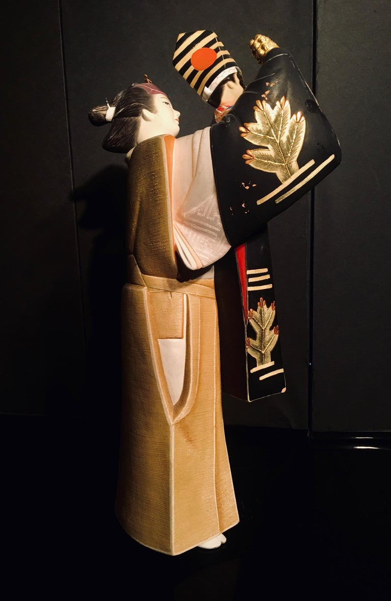 Japanese Showa Hakata Ceramic Doll of a Woman Puppeteer For Sale 3