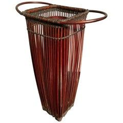 Japanese Showa Period Bamboo Ikebana Basket