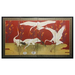 Japanese Showa Period Folding Screen with Painted Cranes