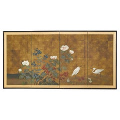 Japanese Showa Period Four Panel Screen Egrets with Flowers