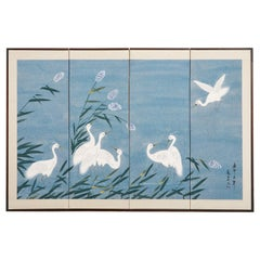 Japanese Showa Period Four Panel Screen Heron Landscape