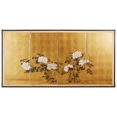 Japanese Showa Period Four-Panel Screen of Peonies