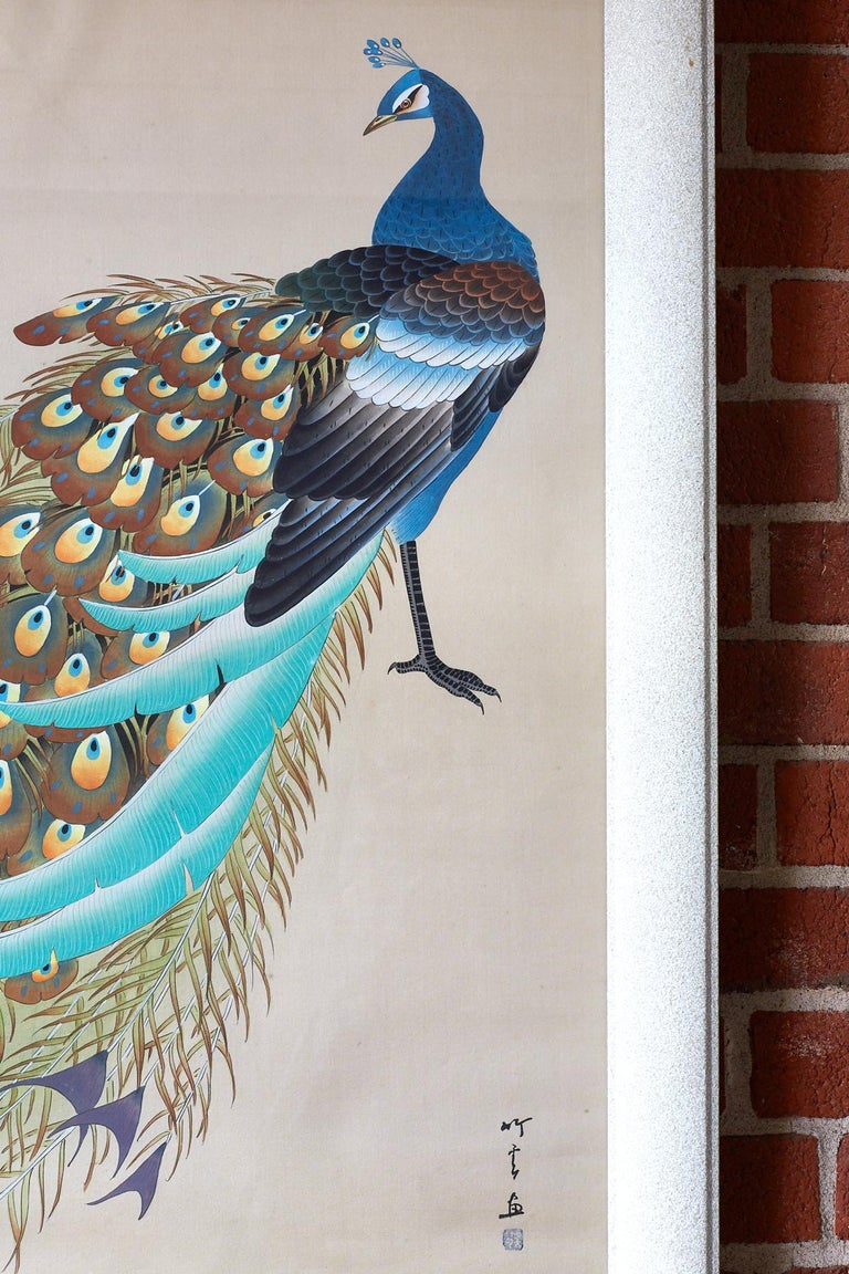 Hand-Painted Japanese Showa Period Peacocks Painted on Silk For Sale
