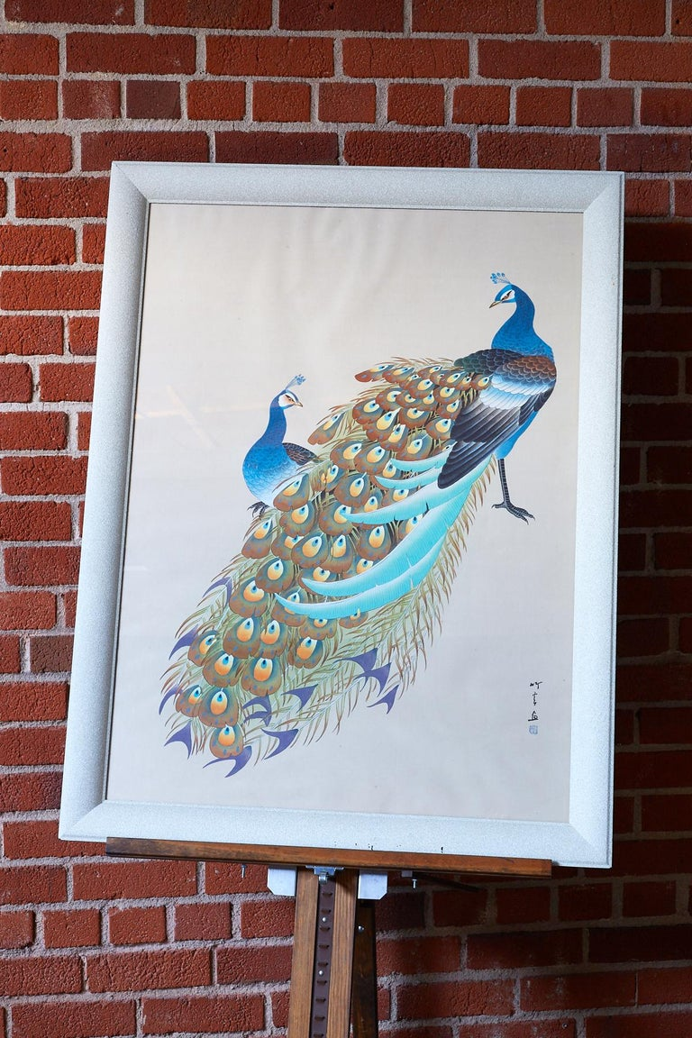 20th Century Japanese Showa Period Peacocks Painted on Silk For Sale