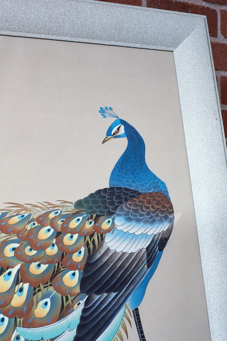 Japanese Showa Period Peacocks Painted on Silk For Sale 1