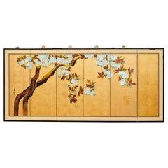 Japanese Showa Six Panel Screen Flowering Cherry Tree