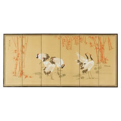Japanese Showa Six Panel Screen Manchurian Crane Bamboo Grove