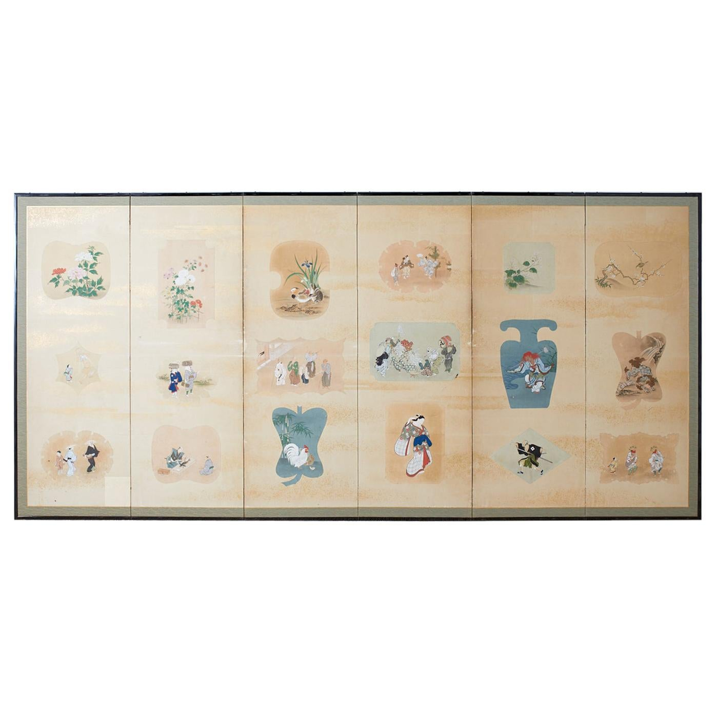 Japanese Showa Six Panel Screen of Painted Vignettes