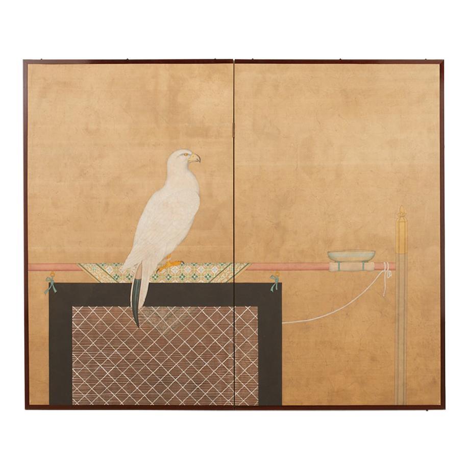 Japanese Showa Two Panel Screen Samurai Falcon