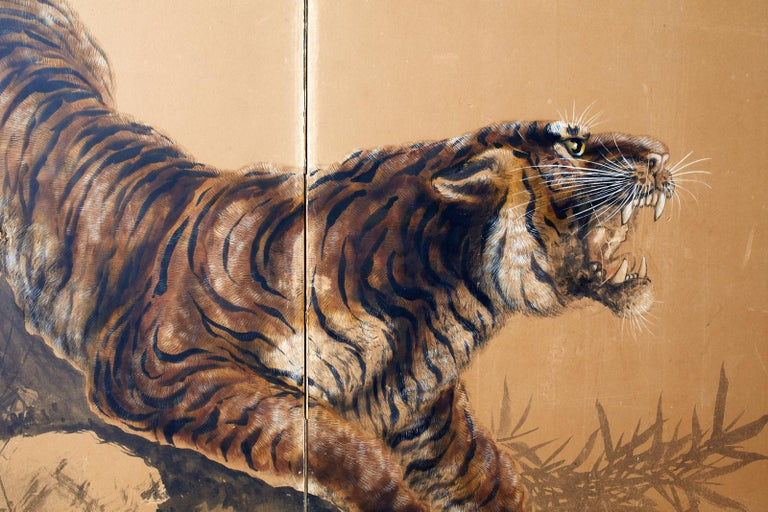 Japanese Showa Two-Panel Screen Tiger and Bamboo 4
